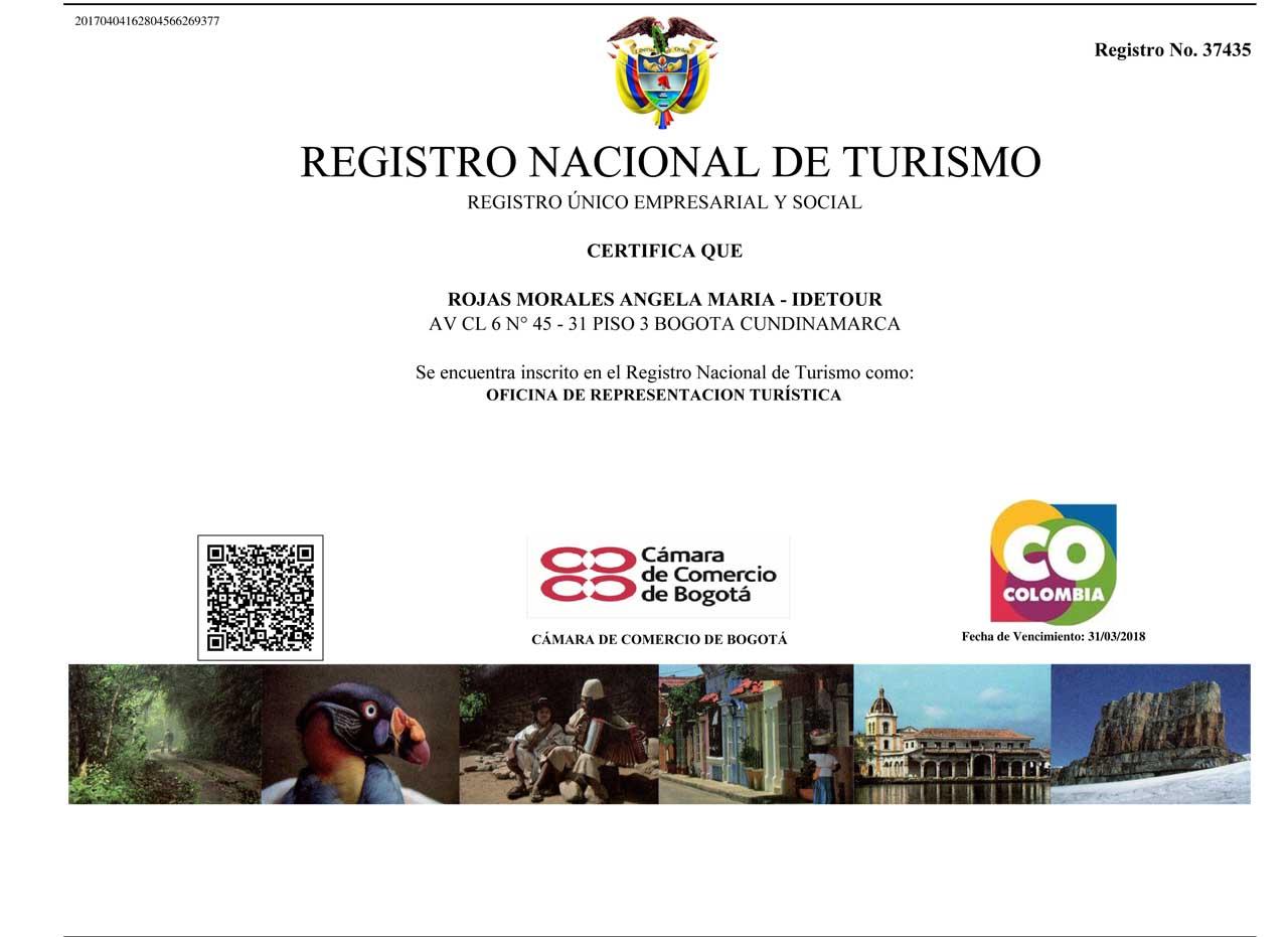 Registro Nacional de Turismo. Idetour.